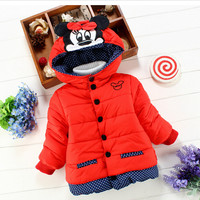 Tops New Children'S Winter Outerwear Girls Cartoon Minnie Coat Baby Plus Thick Wool Cotton Jacket Clothing