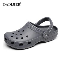 DADIJIER Men Sandals Summer Slippers Shoes Croc fashion beach Sandals Casual Flat Slip On Flip Flops Men Hollow Shoes ST263