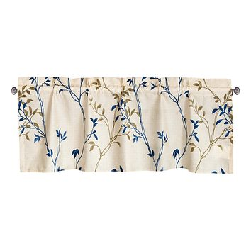 Tache Poplin Cotton Elegant Leaf Vine Cream Beige Window Treatment Valance (JHW-842)