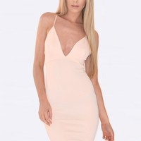 Lorna Nude V Plunge Bodycon Dress - Women's party dresses | South Avenue