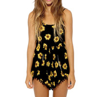 Fashion Sexy Women Straps Sunflower Print Playsuit Casual Vintage Short Rompers Womens Dress Plus Size M-XL