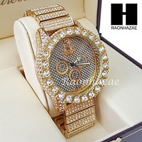 Men's Hip Hop 14K Gold PT Bling Lab Diamond Techno King Rapper Watch L6