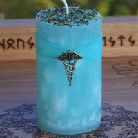 WITCH DOCTOR Herald of Health Aqua Blue Pillar Candle w/ Eucalyptus, Spearmint & Rosemary for Healing, Blessing, Peace, Inner Balance