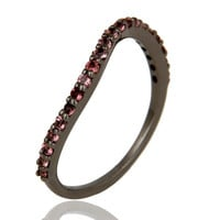 Pink Tourmaline Black Oxidized Sterling Silver Band Ring