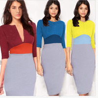 Color Block Zipper Sheath Midi Dress