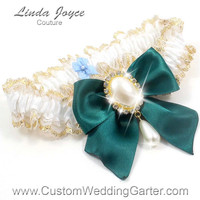 White and Green WEDDING GARTER Gold Bridal Lace Garter 112 White 589 Jungle Hunter Forest Prom Garter Plus Size & Queen Size Available too