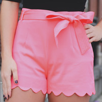 Cactus Flower Shorts - Neon Pink
