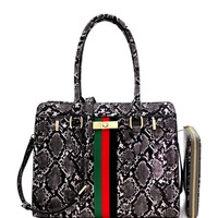 Black Snake Print Leather Handbag Set