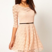 White Rice Slim Sexy Slim Full Lace Dress With Belt