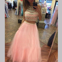 Two Piece Pink Prom Dresses 2017 A Line Beaded with Pearls Tulle Customized Formal Special Occasion Party Gowns PD272