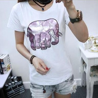 Cute Elephant Embroidery Sequin Shirt Top Tee