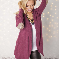 Open Cardigan with Sequins Elbow Patches Burgundy