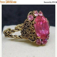 ON SALE Designer Signed Czech Vintage Pink Rhinestone Filigree Adjustable Ring Size 8, Collectible Vintage 1940's 1950's Art Deco Jewelry