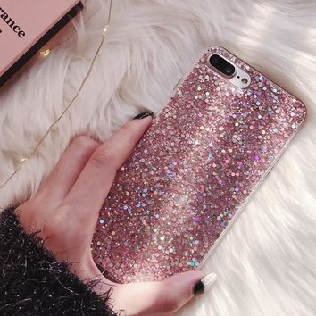 NEW Fashion Bling Glitter Phone Case For Apple iphone 7 8 6 6S Plus 8Plus Soft Silicone Cute Woman Cover for iPhone X 5 S 5S SE