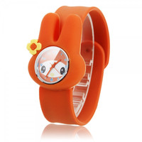 Children Pleasant Slap Cartoon Little Rabbit Style Quartz Wrist Watch Orange tm