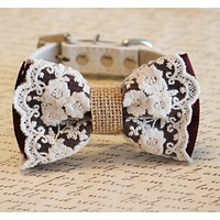 Marsala Dog Bow Tie, Lace and Burlap, Color of the year, Country wedding