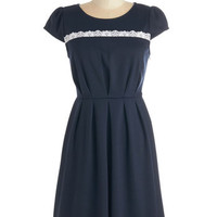 ModCloth Mid-length Cap Sleeves A-line Business Finesse Dress