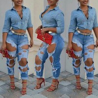 Denim Skinny Ripped Jeans