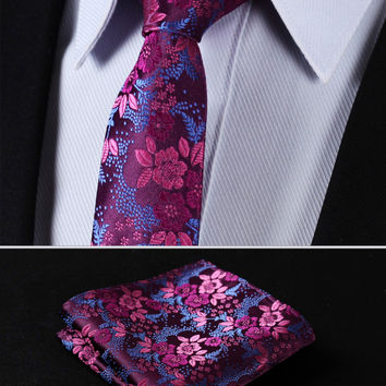 "TF2005H5 Pink Blue Floral 2.17"" 100%Silk Woven Slim Skinny Narrow Men Tie Necktie Handkerchief Pocket Square Suit Set"
