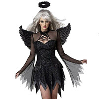 Halloween Woman Refinement Costumes Zombie Stage Uniform with Wings   black