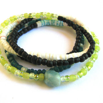 Layered Wrap Bracelet  - Beaded Stretch Bracelet in Teal, Lime, White and Black with Heishi Shell and Amazonite Nugget