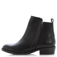 **PLOTT LEATHER ANKLE BOOTS BY DUNE