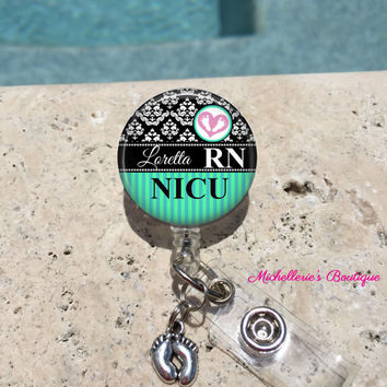 Monogram Badge Reel, Retractable Badge Holder, Personalized Badge Reels, Doctor Badge Reels, Nurse Badges,RN BSN, LPN,Midwife,Damask