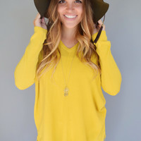 Essential V Neck Sweater Top Marigold