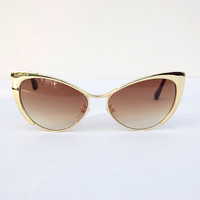 Cat Eye Gold Frame Sunglasses with Brown Lens