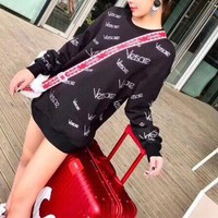 """Versace"" Women Casual Fashion Velvet Rhinestones Personality Letter Pattern Medium Long Section Long Sleeve Thickened Sweater"