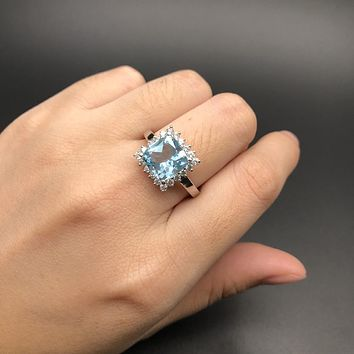 Natural Gemstone Sky Blue Topaz Ring
