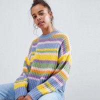 ASOS DESIGN Petite cropped sweater in stripe at asos.com