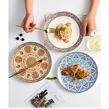 Hand-painted Bohemian Ceramic Plates