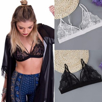 Lace Bralette Sexy Triangle Bra Fashion Cage Bralet Unlined Brassiere See through Crop Top Sexy Intimates Underwear Women 19