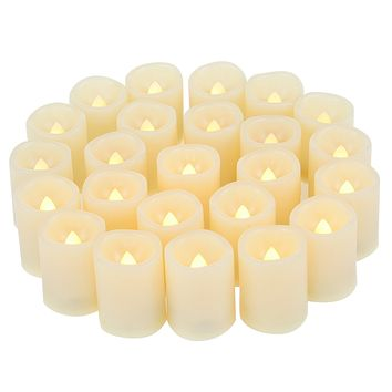 Candle Choice Set of 24 Premium Flameless Votive Candles, Battery-Operated, LED Candles, Long Battery Life 120+ Hours, Battery Included. Votives, waved edge