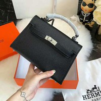 Hermes Fashion Women Leather Handbag Tote Shoulder Bag Crossbody Satchel Black