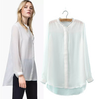 Stylish Long Sleeve Chain Embroidery Women's Fashion Tops Shirt [5013347652]