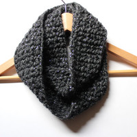 Charcoal Gray Infinity Scarf/ Fall Circle Scarf/ Grey Crochet Cowl/ Winter Women's Scarf