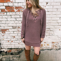 Double Knot Lace Up Sweater - Dusty Rose