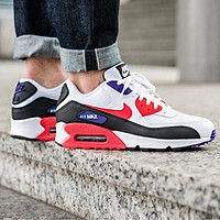 Bunchsun NIKE Air Max 90 Classic Women Men Casual Sport Running Sneakers Shoes White&Red&Purple