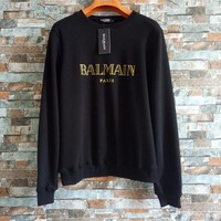 """""""Balmain"""" Unisex Simple Fashion Bronzing Letter Thickened Long Sleeve Sweater Couple Loose Casual Pullover Tops"""