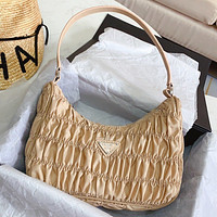 Wearwinds Prada spring new fold bag hobo fold random simple muilt-color optional Apricot