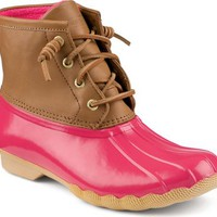 Sperry Top-Sider Saltwater Duck Boot Cognac/Pink, Size 5M  Women's Shoes