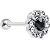 18 Gauge Clear and Black CZ Sparkle Flower Cartilage Tragus Earring | Body Candy Body Jewelry
