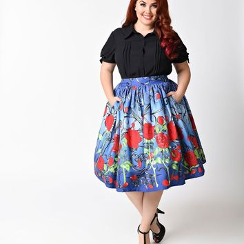 Unique Vintage Plus Size 1950s Blue & Red Rose It's A Beauty Swing Skirt