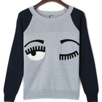 Gray Color Block Nifty Eyes Embroidery Stone Detail Sweater