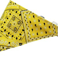 Yellow Western Bandana Pet Collar White Size 10