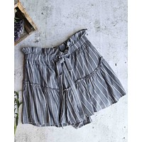 Final Sale - Cotton Candy LA - Martine Stripe Shorts with Ruffle Hem in Denim