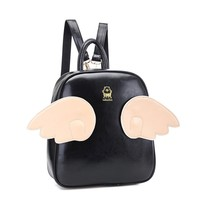 Meilaier Personalized Bat Wings Pu Leather Backpack Black Lace Angel Shoulder Bag