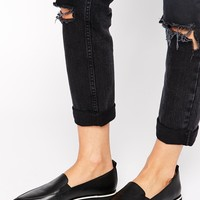Shellys London Leather Slip On Shoes With Contrast Sole